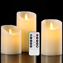 Flameless Candles Battery Operated Pillar Real Wax Flickering Moving Wick Electric LED Candle Sets with Remote Control Cyc...