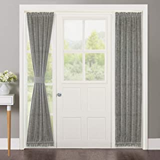 NICETOWN Door Panel Curtain Sheer - Semi Sheer French Door Panels Privacy Linen Textured Window Curtains Sliding Door Curtains (W30 x L72 inches, Matching 2 Tie Backs Included, Dark Grey, Set of 2)