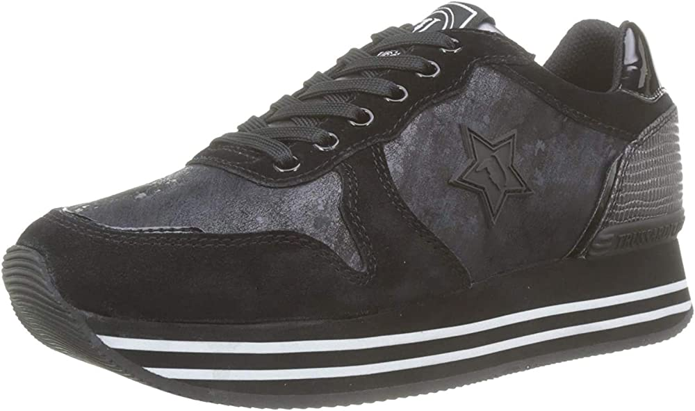 Trussardi jeans, runner plateaux star, sneaker donna,in similpelle 79A00439-9Y099999