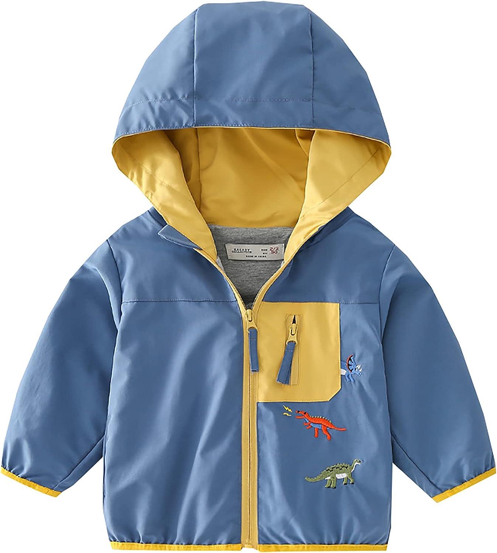 Baby Boys Girls Cartoon Dinosaur Print Hooded Jacket Long Sleeve Coats Zip Up Windbreaker Outerwear