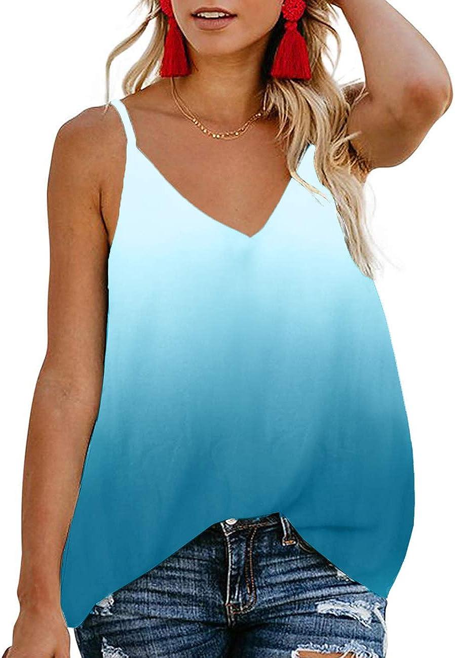 TECREW Women's Tie-Dye V Neck Tank Tops Spaghetti Straps Shirts Summer Loose Sleeveless Blouse