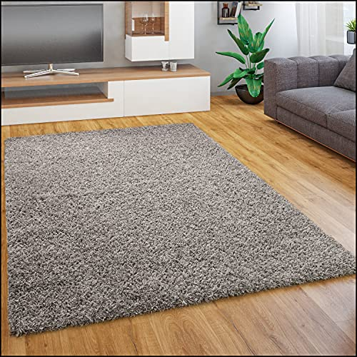 Paco Home Tapis Shaggy Longues Mèches en Différentes Tailles Et Coloris, Dimension:160x220 cm, Couleur:Gris