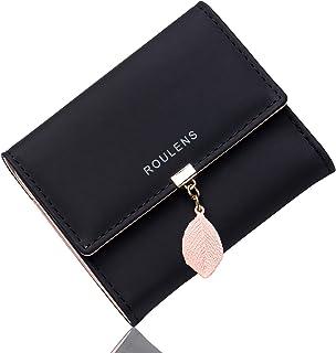 Portafoglio in pelle PU ROULENS per borsa con RFID corto da donna con ciondolo foglia con cerniera