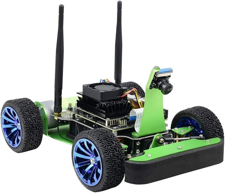 XYGStudy JetRacer AI Kit Racing Robot Powered by Jetson Nano AI Racing Donkey Car with Dual Mode Wireless WiFi Bluetooth Camera Module Open Source Object for Deep Learning
