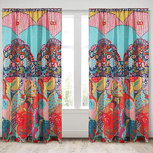 Levtex Home - Jules - Window Panels with Rod Pocket - Two Curtains 84 inch Length - Boho Floral - Orange, Turquoise, Green, Red, Citron, Yellow, Blue - 100% Cotton - Lined