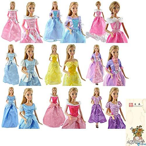 E-TING 5 piezas hecho a mano vestido boda vestido ropa para muñecas Barbie princesas Disney