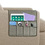 Joywell Sofa Armrest Organizer, 5 Pockets Remote Holder on Couch & Chair Arm for TV Remote Control, Magazine, Books, Cell Phone, iPad, Light Grey