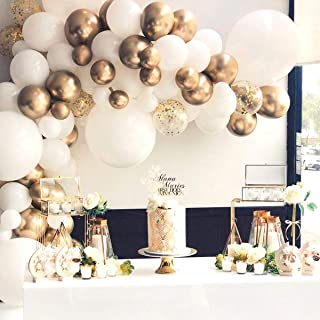 Balloon Garland Arch Kit-117 Pcs White and Gold Balloons-Baby Shower Wedding Birthday Bachelorette Engagements Anniversary Party Backdrop DIY Decorations