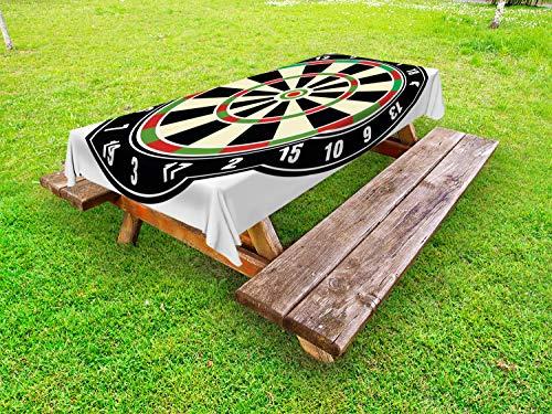 ABAKUHAUS Sport Outdoor-Tischdecke, Dart Board Lifestyle, dekorative waschbare Picknick-Tischdecke, 145 x 210 cm, Vermilion Grün Schwarz