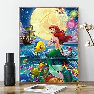 Karyees Mermaid Paint by number 16x20In Disney Mermaid Paint by Numbers Kits Disney Princess DIY 5D Diamond Canvas Painting by Number Mermaid Full Drill Crystal Diamond Paintings Disney Princess Ariel