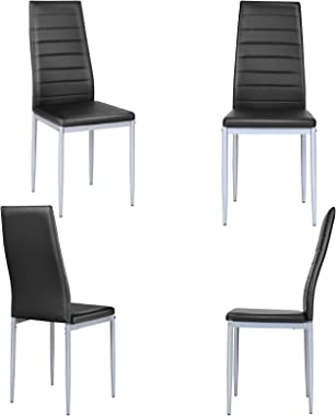 Giantex Set of 4 PU Leather Dining Side Chairs with Padded Seat Foot Cap Protection Stable Frame Heavy Duty High Back Design