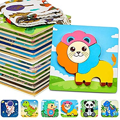 Pereberi Wooden Puzzles for Toddlers 1-3,6 Pack Animal Jigsaw Puzzles Montessori Toys for 1 2 3 Years Old Boys & Girls Baby with Storage Bag Fine Motor Skill Early Learning Educational Gift