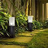 1Pcs Starter LED Solar-Kunststoff-Rattan Rasen Lampe,Wegbeleuchtun Gartenleuchten Außenleuchte Wasserdichte Solarlampe Rattan zylindrisch Für Außengarten Patio Rasen