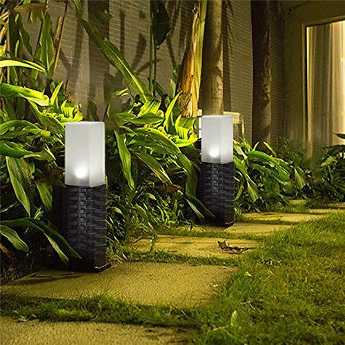 2Pcs Starter LED Solar-Kunststoff-Rattan Rasen Lampe,Wegbeleuchtun Gartenleuchten Außenleuchte Wasserdichte Solarlampe Rattan zylindrisch Für Außengarten Patio Rasen