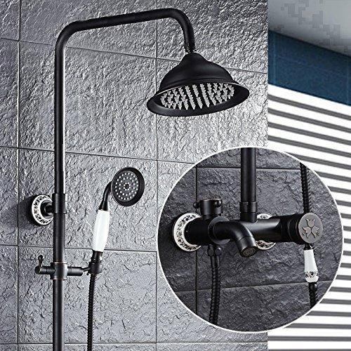 MoMo Dusche Set Schwarz Bronze Dusche Set Voller Kupfer Retro Regen Dusche Dusche Antike Dusche mit Hebe Dusche Wasserhahn,#AA