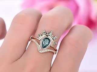 Pear Alexandrite Engagement Ring Set Alexandrite Tiara Ring Enhancer 14K Rose Gold 5x8mm