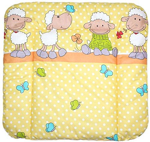 Baby Auflage Wickelauflage - Schaf GELB/ORANGE - 70x50 cm 70x70 cm 70x85 cm Wickeltischauflage 70x85 cm