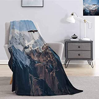 Luoiaax Mountain Rugged or Durable Camping Blanket Frozen Peaks Tops of The Mountain with a Flying Eagle Free in Nature Photo Warm and Washable W91 x L60 Inch Brown White Blue