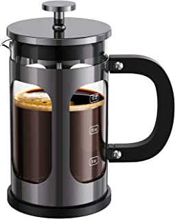 BAYKA French Press Coffee Tea Maker, 304 Stainless Steel Coffee Press with 4 Level Filtration System, Heat Resistant Thick...