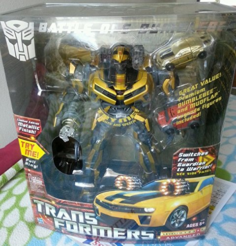 Transformers EXCLUSIVE Limited Edition Metallic Gold Finish 12 Inch Tall Robot Action Figure with Electronic Lights and Sounds Set - BATTLE OPS BUMBLEBEE with Flip-Out Cannons, Glowing Eyes Chest and Weapons, Revving Engine and Battle Sounds Plus Bonus 2