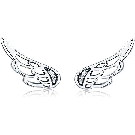 Regalo di Natale donne argento Ear Cuff Angel Wings orecchini ipoallergenico orecchini di cristallo orecchini per ragazze