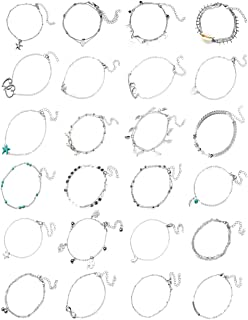 WISCOON Ankle Bracelets for Women, 24 Pieces Ankle Bracelet Anklets for Women Anklet Foot Jewelry for Women Boho Jewelry for Women.