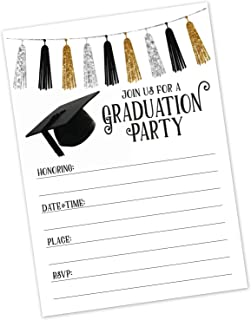 Graduation Party Invitations (20 Count with Envelopes) - Commencement Reception Invite - High School, College, University, Graduate School