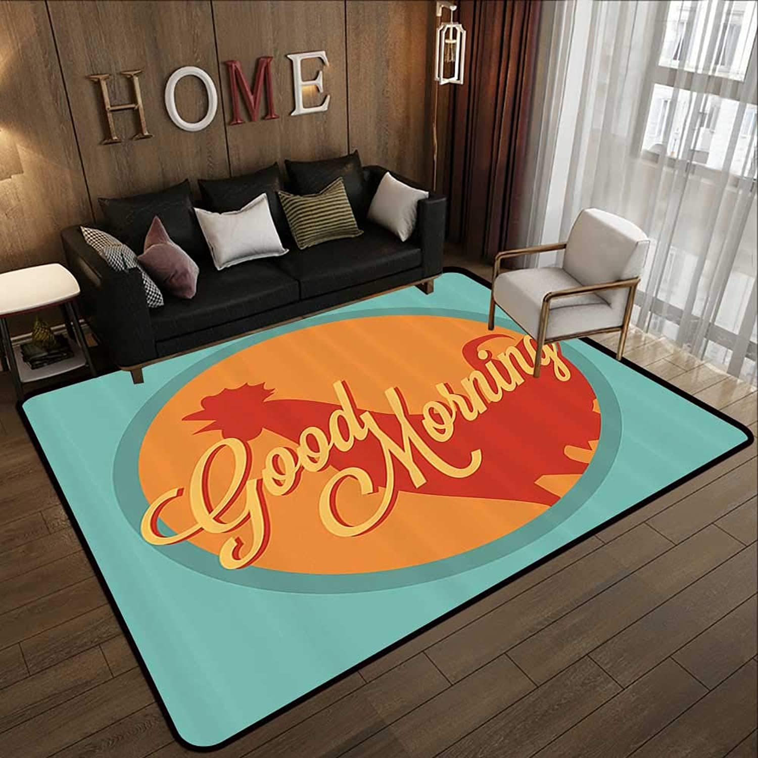 Bedroom Rugs,Gallus,Rooster and Sun Good Morning Vintage Agriculture Sunrise Farm Landscape,Turquoise orange Ruby 55 x 63  Kitchen Doormat