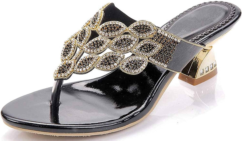 YooPrettyz New Summer Rhinestone Thong Strap Sandals Sweet Sandal gold Chunky Low Heel