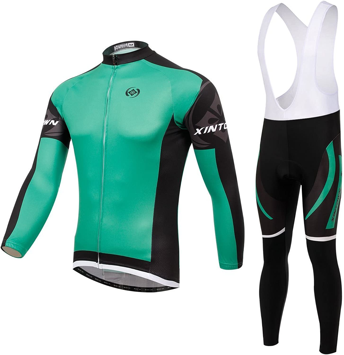 BESYL Unisex Printed HighPerformance Mesh Cycling Clothing Suit, Breathable Long Sleeve Cycling Jersey and Bib Padded Pants Kit for Bicycle Bike Riding Biker (Green Black White)