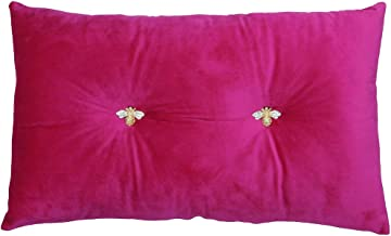 Bumble Rectangular Bee Scatter Cushion - Fuchsia Pink - Faux Velvet Look and Feel - Jewelled Metal Bee Buttons - Polyfille...