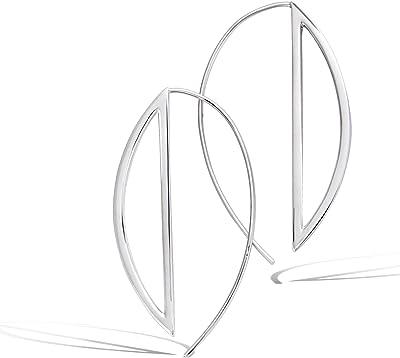 Tata Gisèle © - Orecchini in argento 925/000 rodiato, 45 mm, pendente senza gancio, geometrico, con sacchetto regalo in velluto