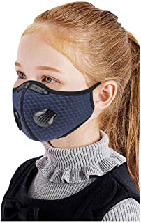 Sugarbig 2PC Face Guard with 2PC Filters for Children Kids, Reusable Facial Protector Bandanas with Dual Breathing Valve & Nose Clip, Suitable for Outdoor Cycling Camping Running and Daily(Navy)