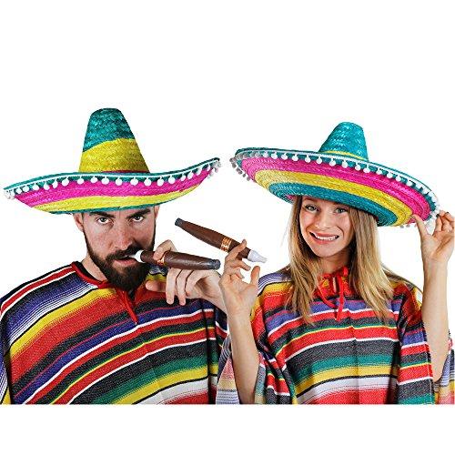I LOVE FANCY DRESS LTD Mexikaner Paar KOSTÜM VERKLEIDUNG = 2 Ponchos+2 SOMBREROS+2 Dicke Plastik ZIGARREN+ 2 MEXIKANISCHE SCHNURRBÄRTE=Fasching Karneval=Bunte SOMBREROS