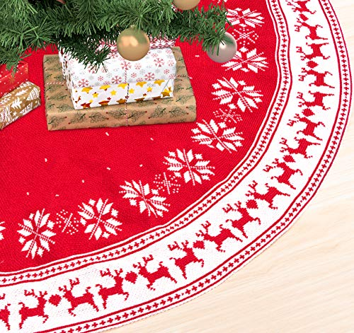 ABSOFINE 48 Inch Christmas Tree Skirt Knitted Snowflakes Elk Tree Skirt Rustic Knit Tree Skirt for Holiday Christmas Decorations, Double Layers