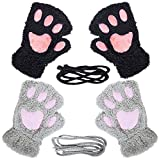 Loritta 2 Pairs Womens Cat Paw Gloves Winter Plush Faux Fur Cute Kitten Fingerless Mittens,Black + Gray(2 Pairs)