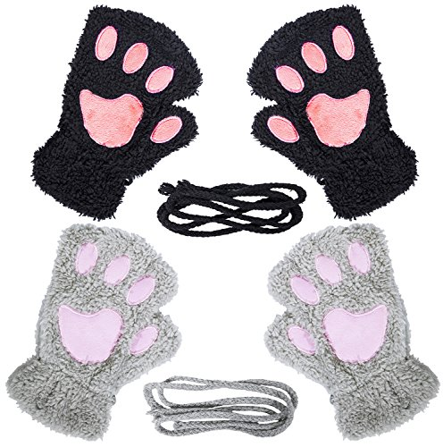 Loritta 2 Pairs Womens Cat Paw Gloves Winter Plush Faux Fur Cute Kitten Fingerless Mittens,Black + Gray(2 Pairs)
