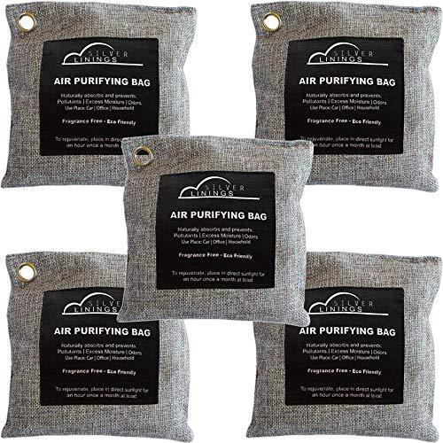 Air Purifier Bags Bamboo Charcoal (5 Pk of 200 gms) Bamboo Charcoal Air Purifying Bag - Odor Absorbing Bags - Activated Charcoal Odor Absorber- Odor Eliminator Charcoal- Closet Air Freshener, Car Air Freshener