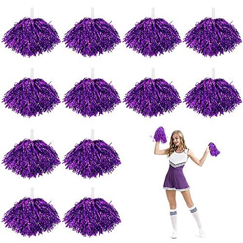 LZYMSZ 12 pompon da cheerleader, in metallo per bambini, per scuola, sport, giochi di squadra, spirito di tifo, viola