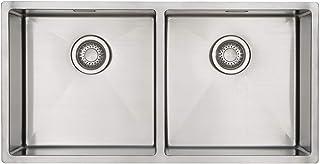 Doppelbecken Spüle Edelstahl MIZZO Design 800-400 Flächenbündig | Unterbau Edelstahlspüle | Außenmaße: 870 x 444mm