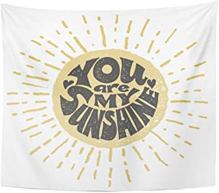 Emvency Tapestry Yellow Abstract You are My Sunshine RGB Global Color Home Decor Wall Hanging for Living Room Bedroom Dorm 50x60 Inches
