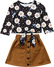 IZvs53C Baby Girl Long Sleeve Bowknot Front Daisy Tops Khaki Button Decoration Suede Skirt Dress Outfit Clothes
