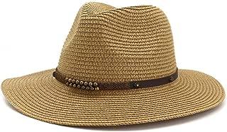 WELSUN Summer Hollow Fedora Hat for Women Men Sun Hat Outdoor Travel Straw Wide Brim Rivet Leather Decorative Rope Fine (Color : Khaki, Size : 56-58CM)