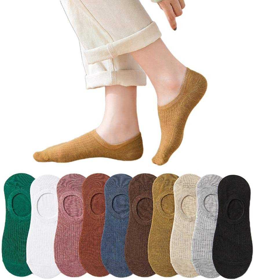 Mgsirc 10 Pair Women Invisible Short Cotton Socks, Ultra Low Cut & Non Slip Liner No Show Socks, Ladies Spring Summer Breathable & Sweat-Absorbing Boat Socks for Sneaker/Loafers (A Mixed Color)