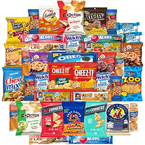 Variety Fun Care Package (50 Count) Snacks Assortment Gift Box Includes Chips, Cookies, Crackers, & More