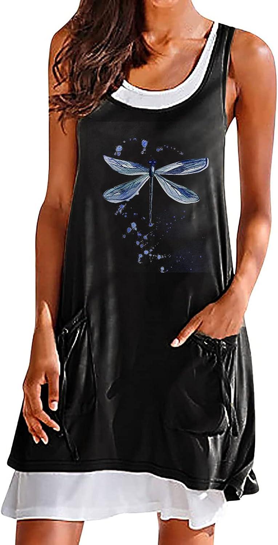 FRSH MNT Womens Summer T Shirt Dresses Casual Sleeveless Splicing Swing Tank Top Dress Beach A-Line Skirt Pullover Dress