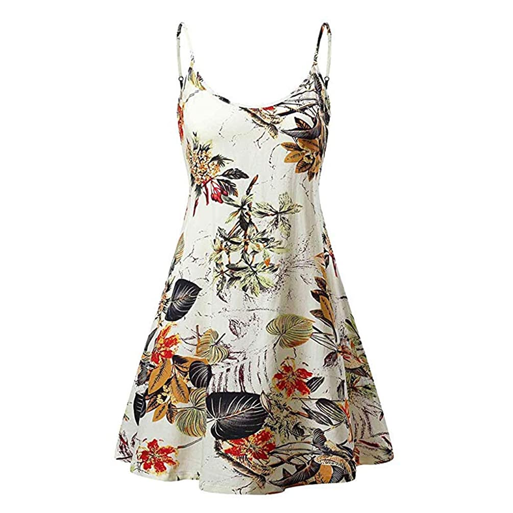 Sunhusing Women's Simple Gradient Color Tie Dyed Print Sleeveless Sling High Waist Above Knee Camis Dress