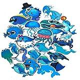 SetProducts  Top Pegatinas! Juego de 49 Pequeñas Pegatinas de Delfines y Otros Peces Vinilos - No Vulgares - Acuario, Oceano - Personalización Portátil, Auto, Moto, Laptop, Mac, Pc