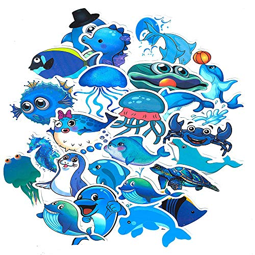 SetProducts Top Aufkleber ! Set von 49 Kleine Delfine und andere Fische Aufkleber - Premium Qualität - Vinyls Stickers Nicht Vulgär – Aquarium, Ozean - Anpassung Laptop, Gepäck, Moto, Fahrrad, Skate