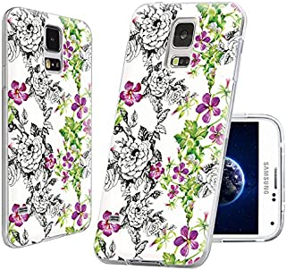 S5 Case,Samsung S5 Case,Galaxy S5 Case,ChiChiC Full Protective Case Slim Durable Soft TPU Cases Cover for Samsung Galaxy S5 I9600,Vintage Hand Drawn Black Pink Flower and Green Leaves on White